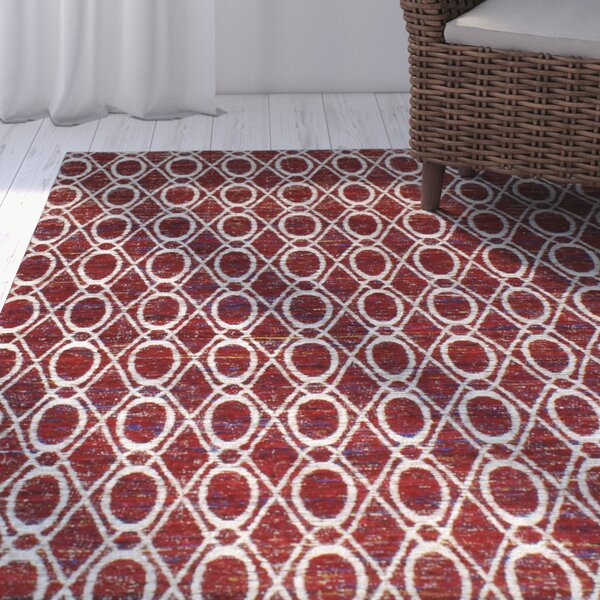 Portmarnock Hand-Woven Red Area Rug by Breakwater Bay