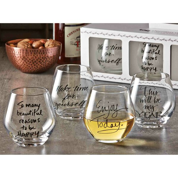4 Piece 16 Oz. Stemless Wine Glass Set by TAG