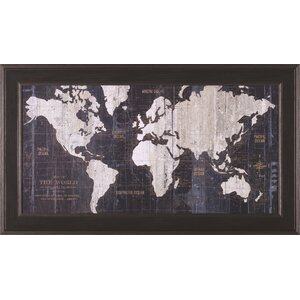 'Old World Map Blue' Framed Graphic Art by 17 Stories