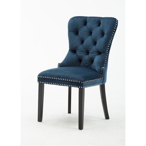 Greggs Tufted Velvet Upholstered Side Chair in Navy Blue (Set of 2) by Everly Quinn Everly Quinn