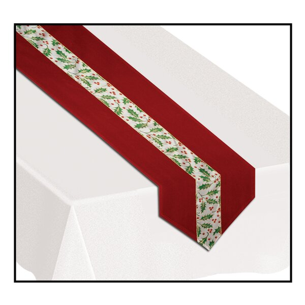 Christmas Holly Fabric Table Runner by The Holiday Aisle