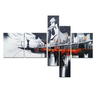 New York Cityscape 5 Piece Painting on Canvas Set