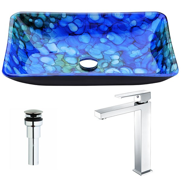 Voce Glass Rectangular Vessel Bathroom Sink with Faucet by ANZZI