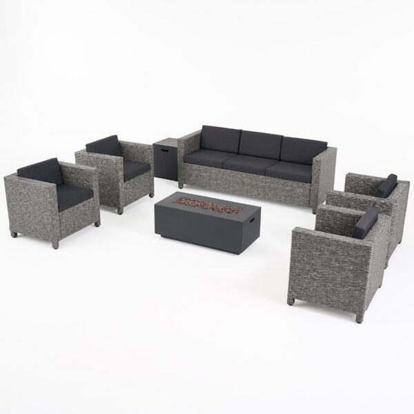 Sunnydale Outdoor 7 Piece Rattan Sofa Seating Group with Cushions by Breakwater Bay
