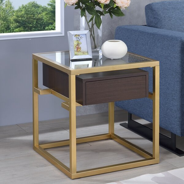 Danyel Glass End Table by Everly Quinn