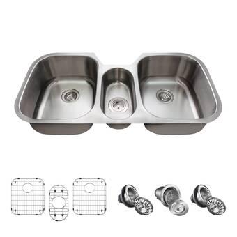 Stainless Steel 43 X 21 Triple Basin Undermount Kitchen Sink With Additional Accessories