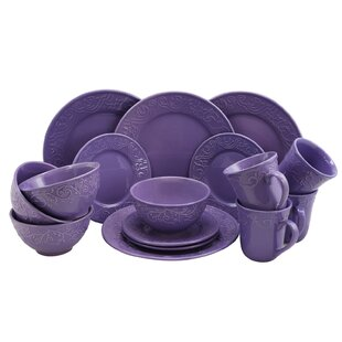 Whyte 16 Piece Dinnerware Set Service for 4  sc 1 st  Wayfair : purple dinner plate - pezcame.com