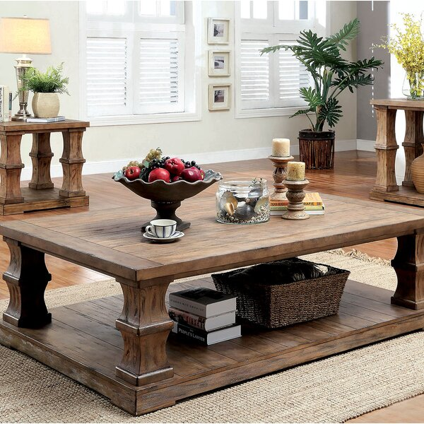 Charlotte Coffee Table with Wooden Top by Gracie Oaks