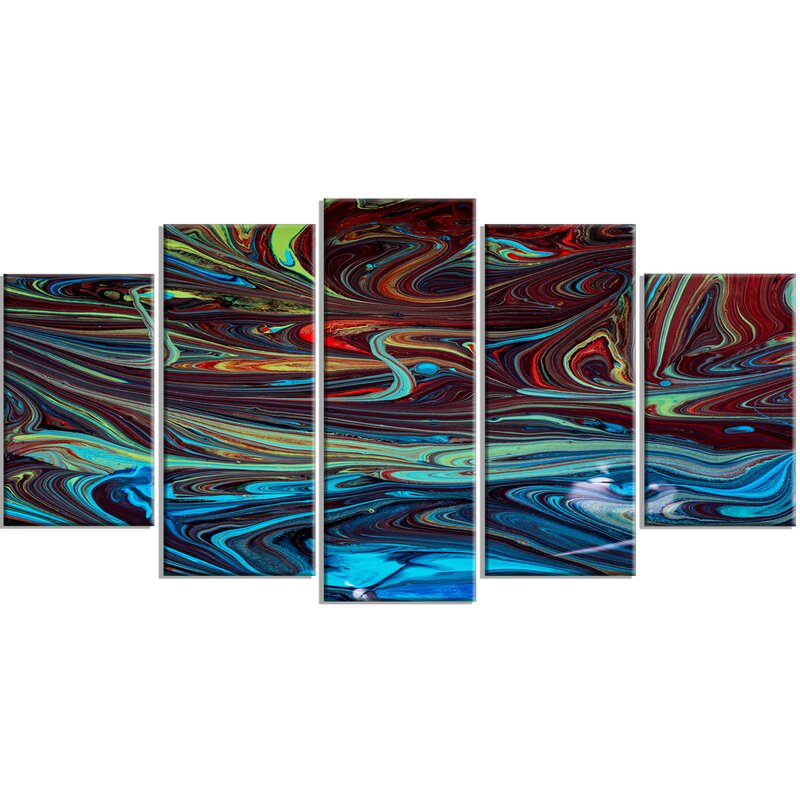 u0027Red Blue Abstract Acrylic Paint Mixu0027 5 Piece Wall Art on Wrapped Canvas Set. u0027  sc 1 st  Wayfair & DesignArt u0027Red Blue Abstract Acrylic Paint Mixu0027 5 Piece Wall Art on ...