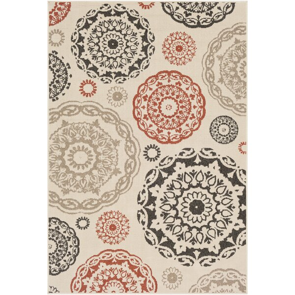 Dutcher Medallion Cream/Black Indoor/Outdoor Area Rug by Bungalow Rose