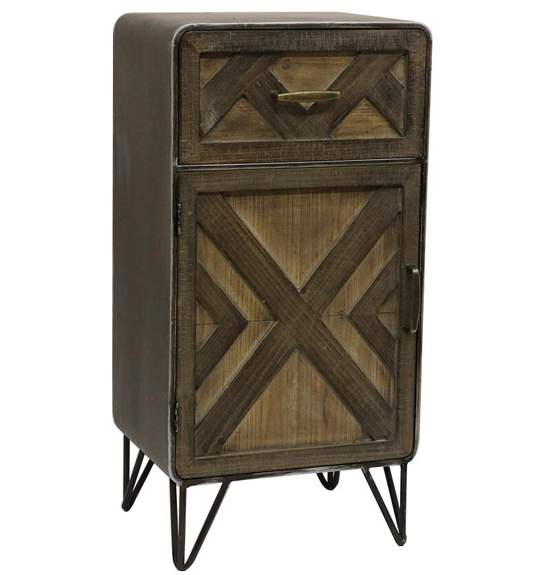 Union Rustic Delicia Wood And Metal 1 Drawer Accent Cabinet Reviews Wayfair