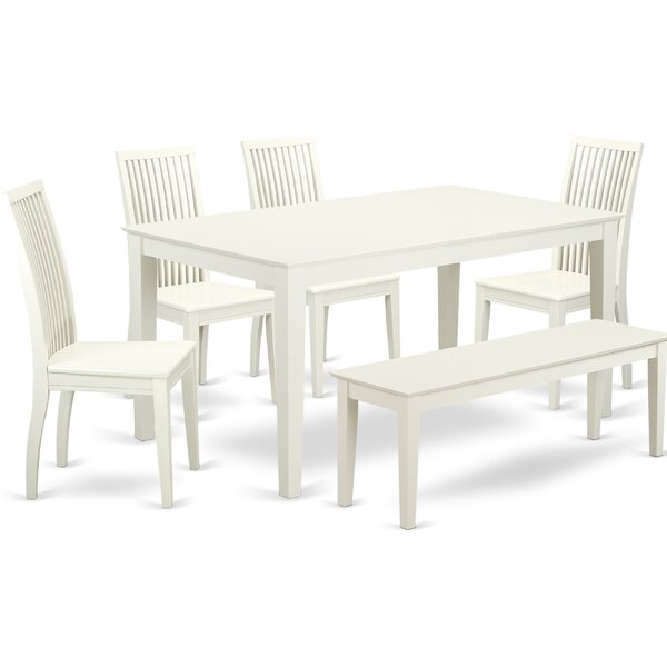 Best  Smyrna 6 Piece Solid Wood Dining Set By Charlton Home Today Sale Only