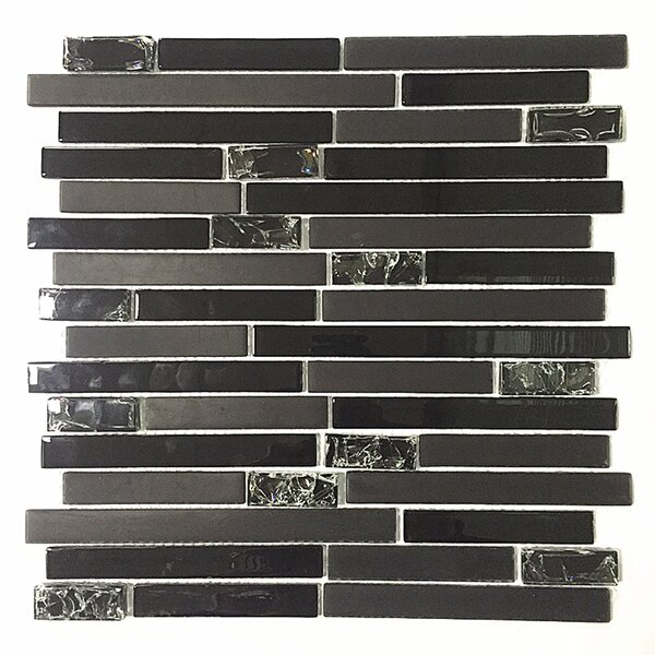 12 x 12 Glass Mosaic Tile in Black by Upscale Designs by EMA
