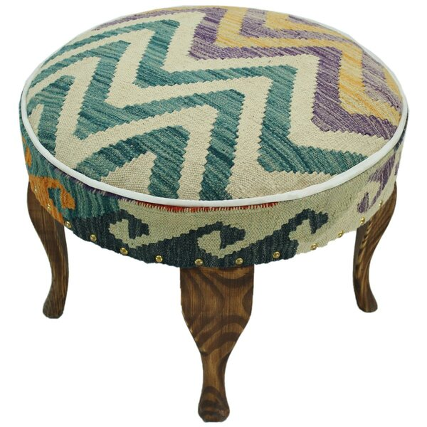 Stith Kilim Upholstered Handmade Ottoman by Bloomsbury Market