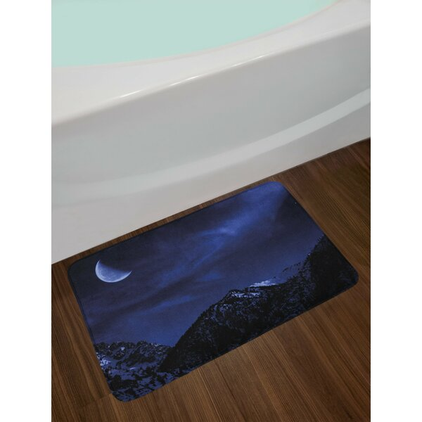 Snow Dark Blue Black Coconut Night Bath Rug by East Urban Home