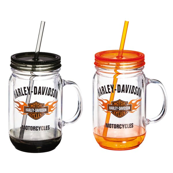 Harley-Davidson® 18 oz. Plastic Mason Jar Cup (Set of 2) by Evergreen Enterprises, Inc