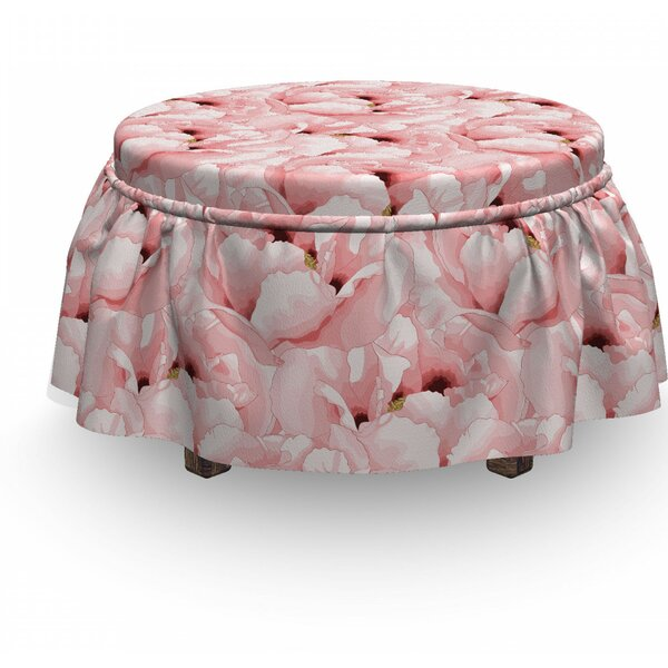 Vintage Flower Bloom 2 Piece Box Cushion Ottoman Slipcover Set By East Urban Home