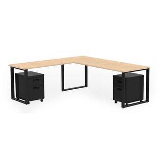 Wickstrom 72 X 30 Desk with 48 X 24 Return and 2 Mobile Pedestals, Designer White Laminate Silver Finish