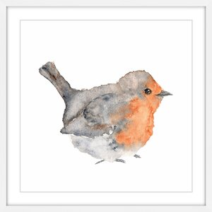 'English Robin' by Thimble Sparrow Framed Painting Print by Marmont Hill