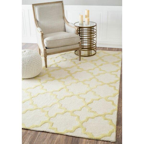 Moderna Sunshine Zoe Trellis Hand Tufted Wool Yellow/Gray Area Rug by nuLOOM