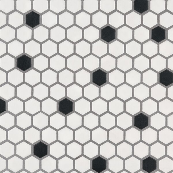 Domino Hexagon 1 x 1  Porcelain Mosaic Tile in Matte Black/White by MSI