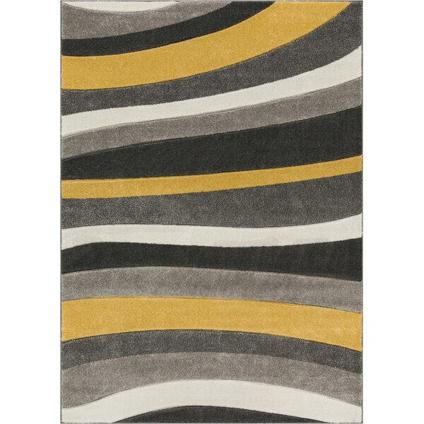 Rad Wave Gold/Gray Area Rug by Well Woven