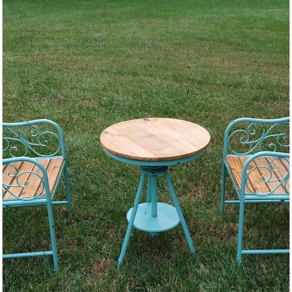 Paez Metal/Wood Round Adjustable Pub Table by Gracie Oaks
