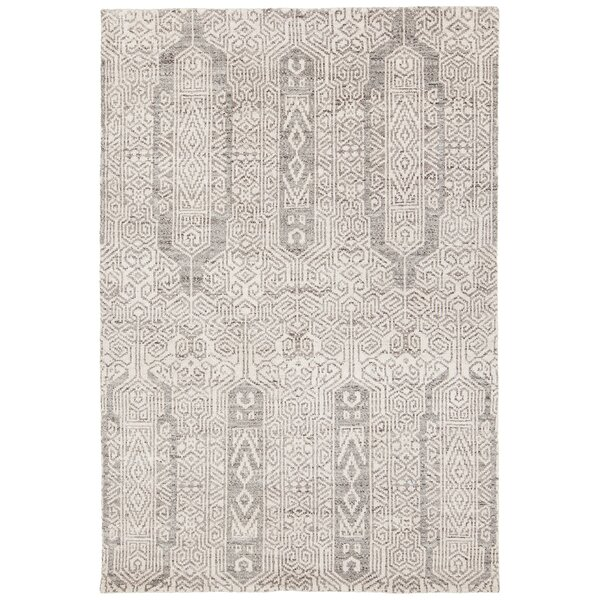 Denwood Hand-Knotted Gray/Cream Area Rug by Bungalow Rose