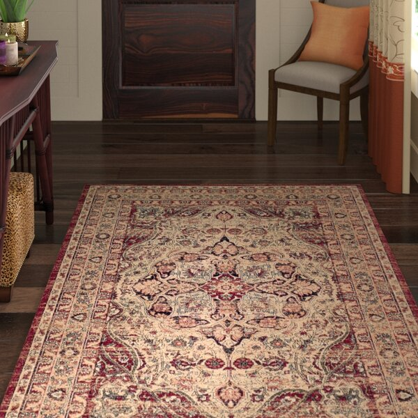 Leija Creme/Red Area Rug by World Menagerie