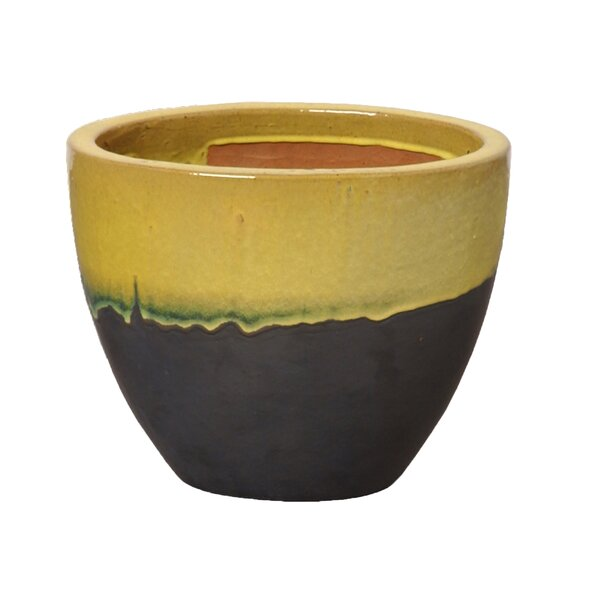Oval 2 Tone Ceramic Pot Planter by Emissary Home and Garden
