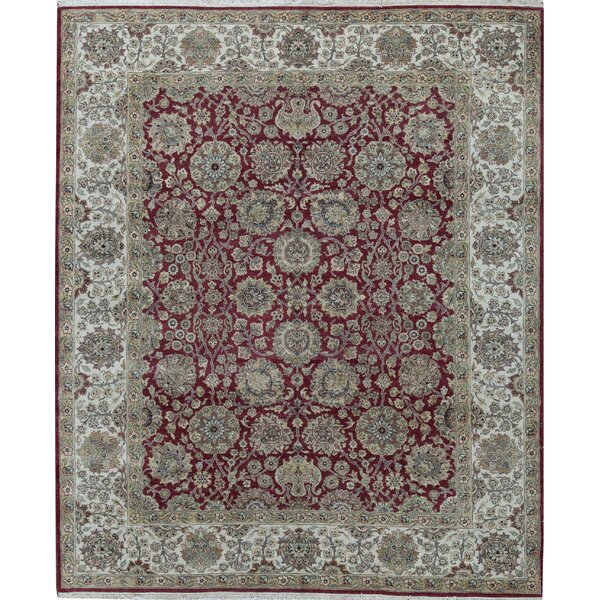 Oriental Hand-Knotted 8.1' x 9.8' Wool Red/Ivory Area Rug