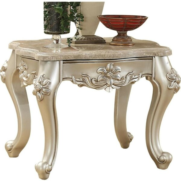 Brecken Marble Top Flower Motif Engraved Angular Wood Feet End Table by Astoria Grand Astoria Grand