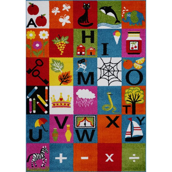 Kindig Alphabets Blue/Orange Area Rug by Zoomie Kids