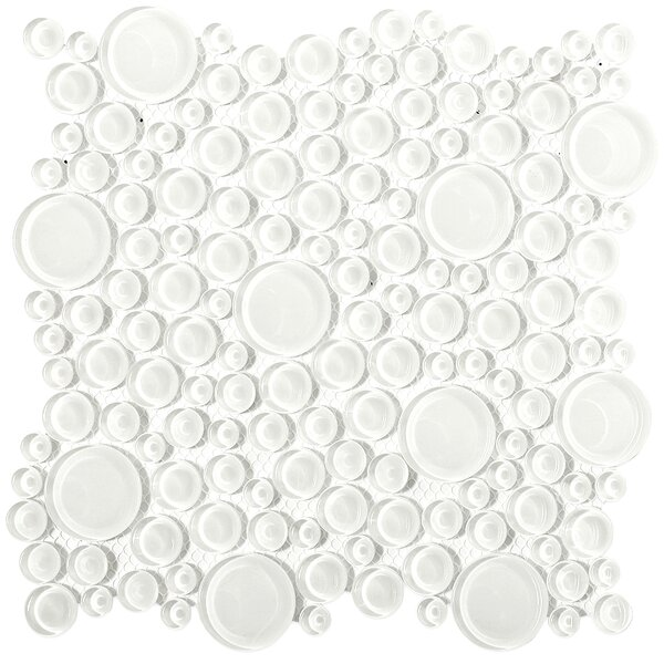 Contempo Circles Random Sized Glass Mosaic Tile in Bright White by Splashback Tile