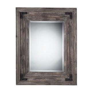Gracie Oaks Toney Rectangle Brown Wood Wall Mirror