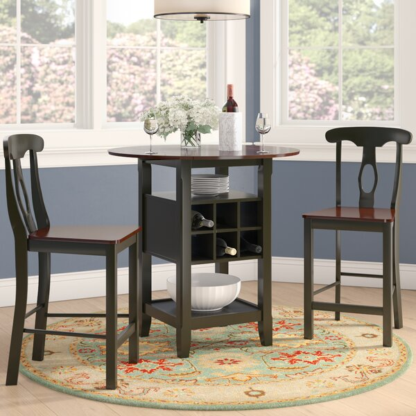 Teneyck 3 Piece Counter Height Drop Leaf Pub Table Set By Charlton Home