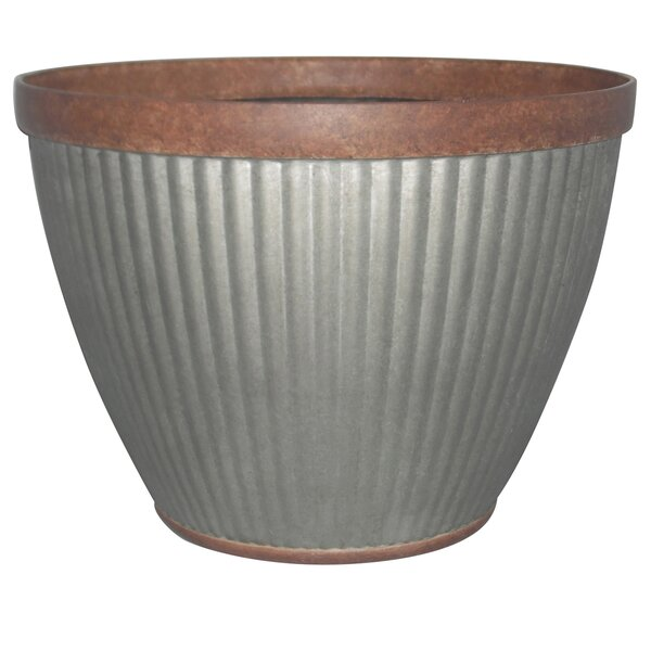 Seren Round Galvanized Resin Pot Planter by Williston Forge