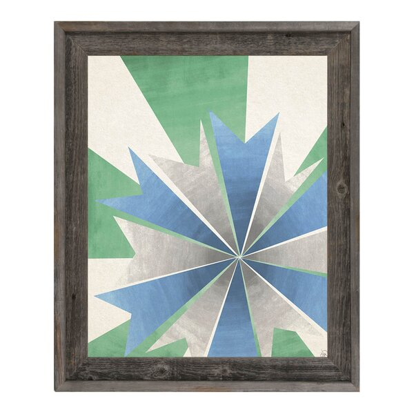 Radiant Umbrella Green and Blue Framed Graphic Art on Canvas by Click Wall Art