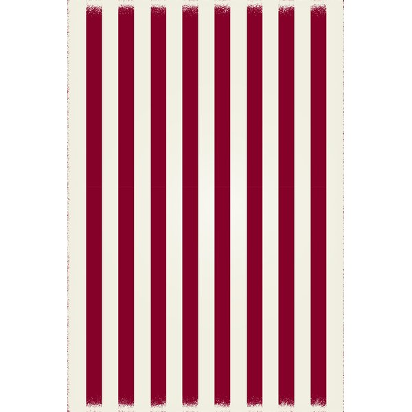 Coutu Strips of European Red/White Indoor/Outdoor Area Rug by Ebern Designs