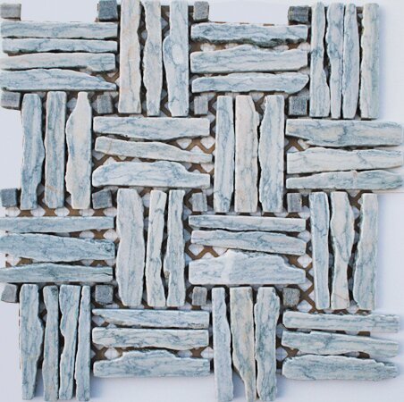 Landscape Wonder 1 x 4 Random Sized Stone Mosaic Tile in Gray/Light Blue by Intrend Tile