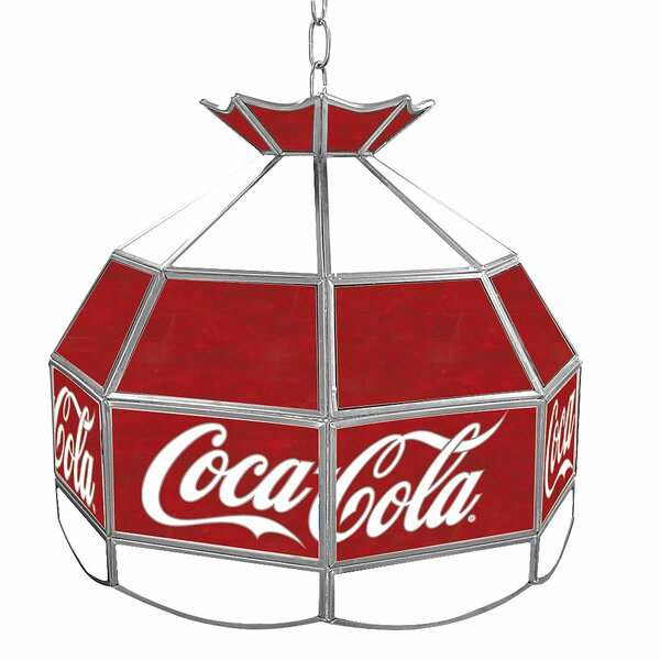 Coca Cola Vintage Stained Glass 1-Light Pool Table Lights Pendant by Trademark Global