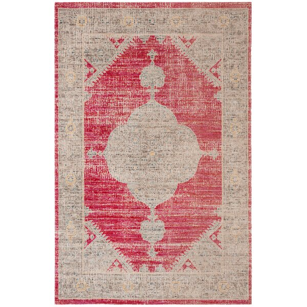 Griffeth Rose/Gray Indoor/Outdoor Area Rug by Bungalow Rose