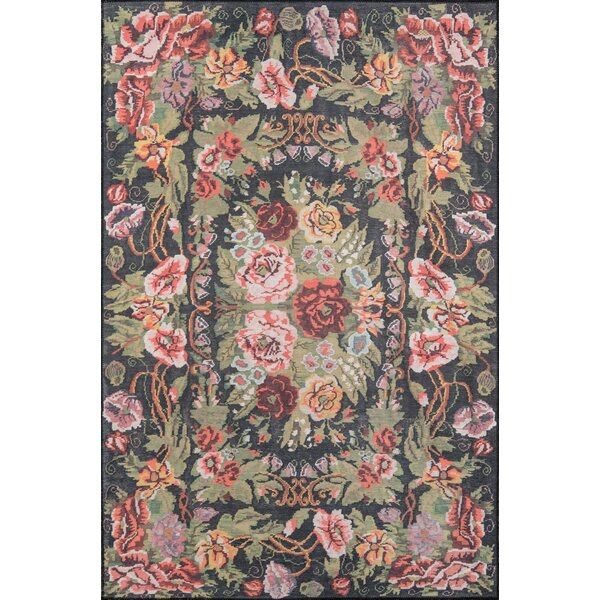 Chiu Black/Green/Pink Area Rug by August Grove