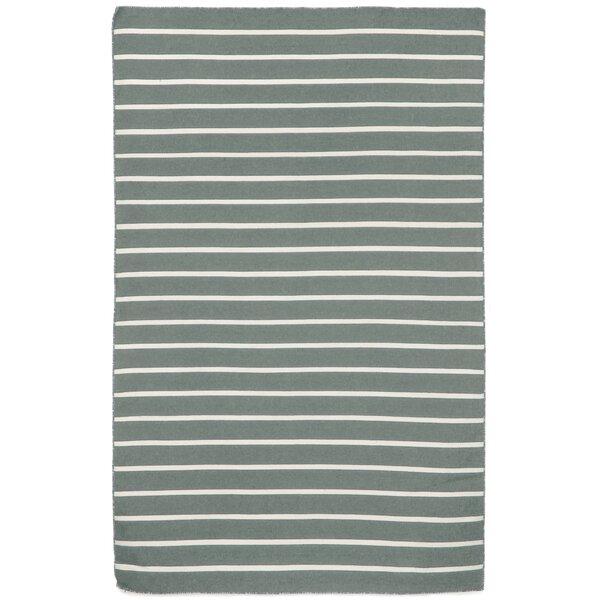 Ranier Pinstripe Hand-Woven Grey Indoor/Outdoor Area Rug by Beachcrest Home