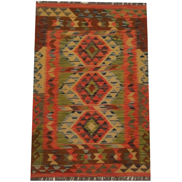 Hand-Woven Red/Brown Area Rug by Herat Oriental