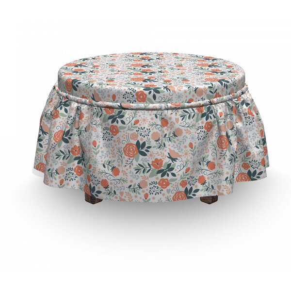 Floral Shabby Nature Botanical 2 Piece Box Cushion Ottoman Slipcover Set By East Urban Home