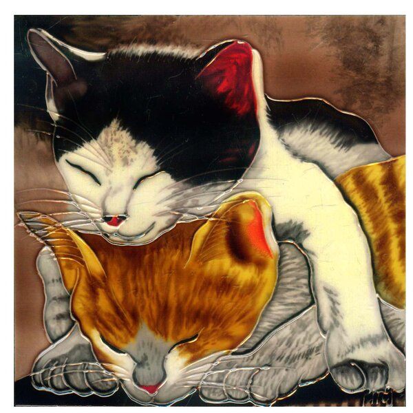 Two Sleeping Kitties Tile Wall Decor by Continental Art Center
