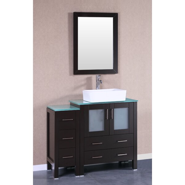 Laurel 42 Single Bathroom Vanity Set with Mirror by Bosconi