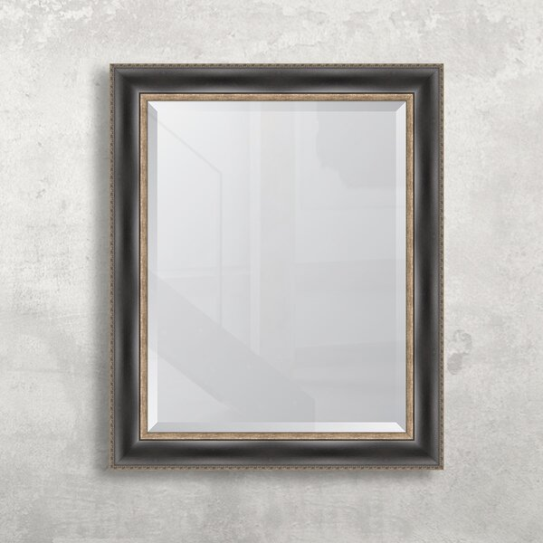Black with Sliver Embossed Wall Mirror by Melissa Van Hise