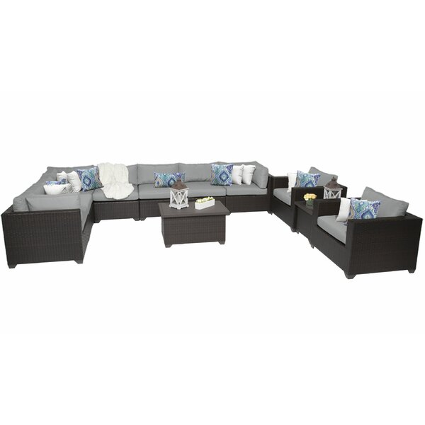 Fernando 11 Piece Rattan Sectional Seating Group with Cushions by Sol 72 Outdoor